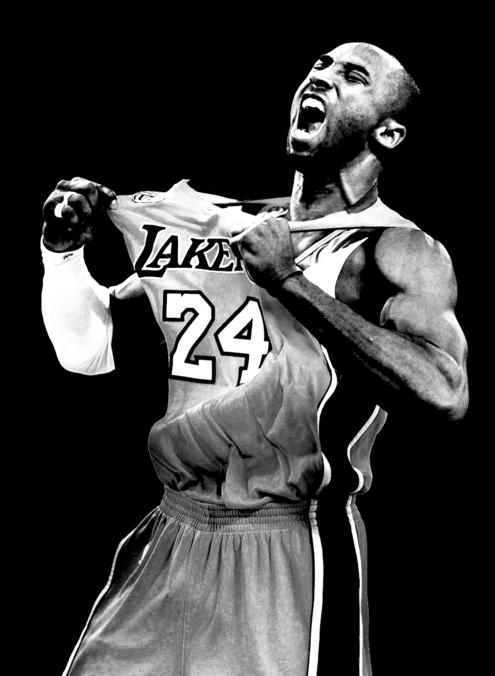 The Los angeles Lakers' Kobe Bryant exhalts after a three point shot in a game that he finished with 49 points and a 2 games to none lead over the Denver Nuggets in a NBA Western conference play-off game.